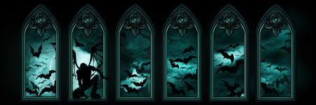 Illustration halloween banner with gothic windows, a fallen angel or a vampire, night sky with the moon and flying bats hordes on the background