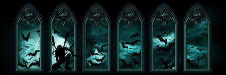 Ilustração da bandeira Dia das Bruxas com janelas góticas, um anjo caído ou um vampiro, céu nocturno com as hordas Lua e bastões que voam no fundo