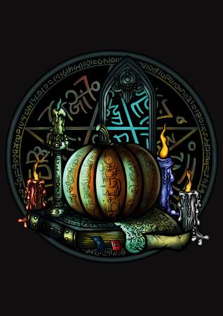Ilustração da composição do Dia das Bruxas com uma abóbora, velas acesas, um livro de magia, um portal mágico e um pentagrama brilhante