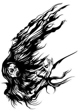 gore: Illustration an abstract form with a vampire for design frames, corners, greetings, posters, banners, flyers, cards