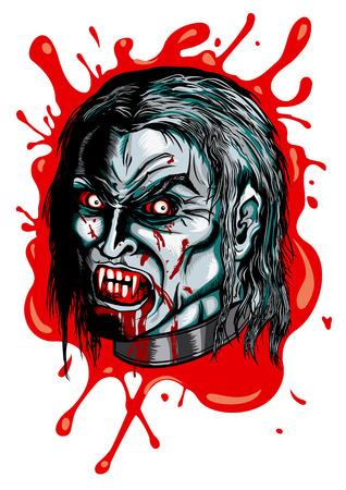 Illustratie hoofd van een vampier met hoektanden, boze ogen en een smet Stockfoto