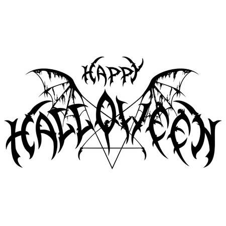 pentagram: Illustration happy halloween emblem in metal rock music style with a pentagram and wings. Handmade letters are my own design.
