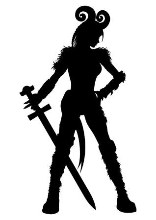 aries: Ilustraci�n una mujer de fantas�a en un casco de cuernos del espol�n o un s�mbolo del hor�scopo de Aries. Foto de archivo