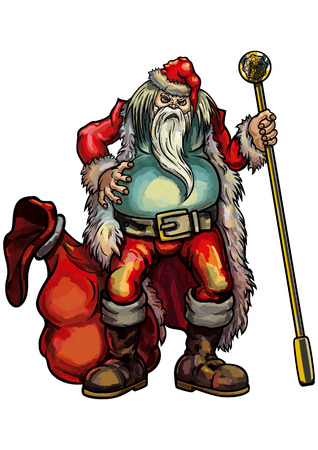 glum: Illustration fat untidy angry Santa Claus with a bag