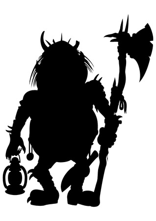 Illustration silhouette a scary goblin or a troll or another monster with an axe and a lantern