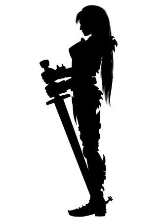 Illustratie meisje strijder silhouet in ridder pantser met zwaard met twee handen