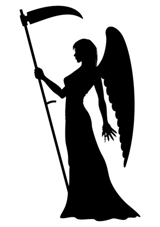 angel cemetery: Illustration silhouette of a female Angel with a scythe
