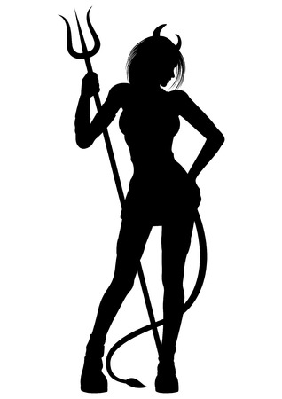 Illustration a woman with a pitchfork. She has a tail and horns
