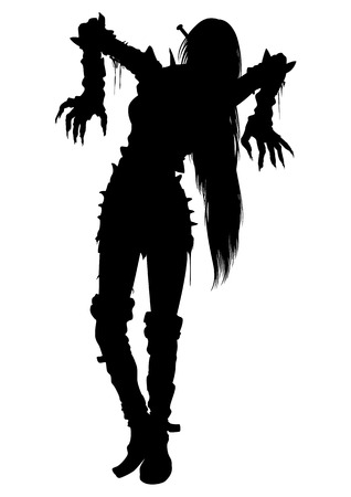 devil girl: Illustration woman zombie with long hairs in extreme spiked costume Stock Photo