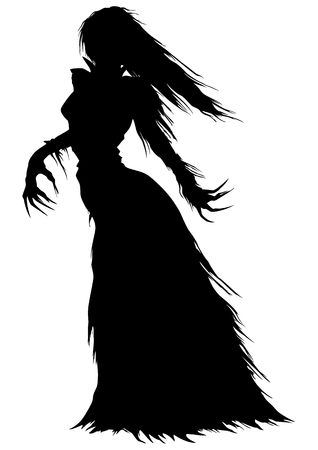 Abstract woman with long hairs and curved fingers in a ball gown with ragged edges