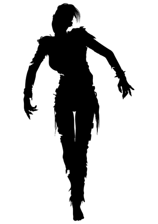 black hair woman: Illustration zombie girl with punk hairs iroquois