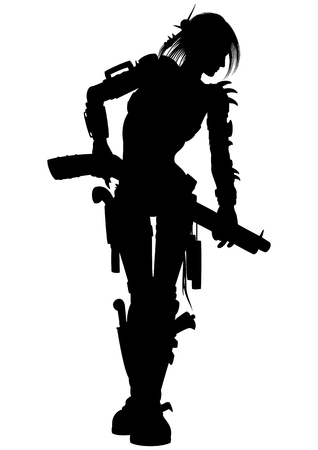 shootout: Illustration armed woman with guns and other weapon Stock Photo