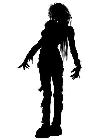 goth girl: Illustration woman zombie with long hairs