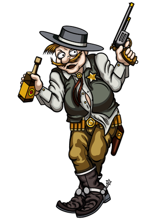 liquors: Illustration old wild west gunman with a pistol and a bottle