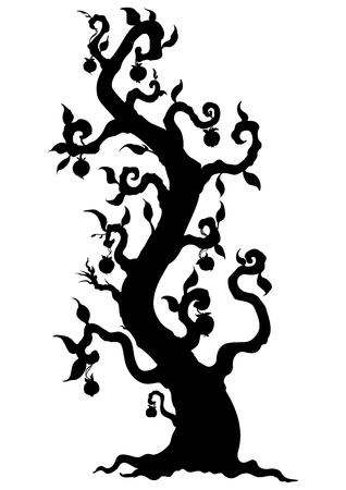 Illustration fantasy tree with fruits like apples Stock Photo