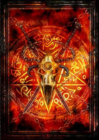 composición de la fantasía Ilustración con espadas, cráneo demoníaco, estrella de cinco puntas y antecedentes de incendios Foto de archivo