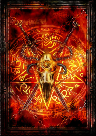 Illustration fantasy composition with swords, demonic skull, pentagram and fire background