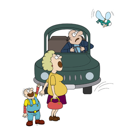 Illustration driver in a car, a woman and a child. They are stare at the big fly