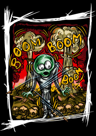 wasteland: Illustration frightened alien humanoid. He stands inside war actions on the earth. Explosions on the background. Handmade text by my own design
