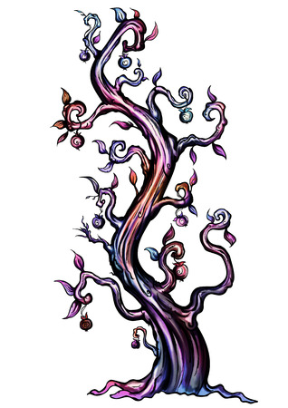 fabled: Illustration fantasy tree with fruits like apples Stock Photo