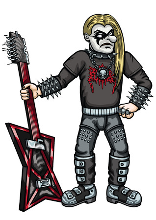 brutal: Illustration funny cartoon metal music guitarist with brutal guitar. He dressed in black, spiked, with black-and-white  makeup and long hairs