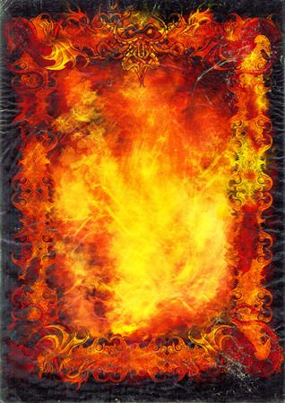 summon: Illustration background like books sheet with old frame, fire, dragons, monster and grunge copy space