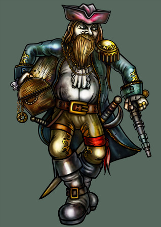 brigand: Illustration fortunate pirate. He holds a chest with treasure, and carries weapons