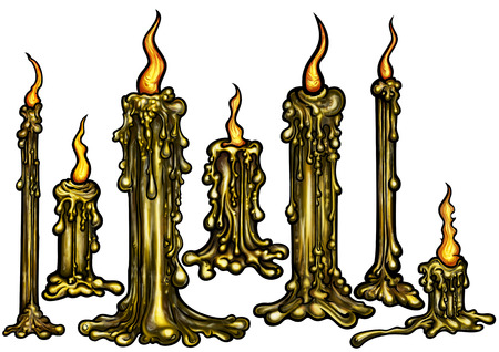 eerie: Illustration seven eerie lighted candles