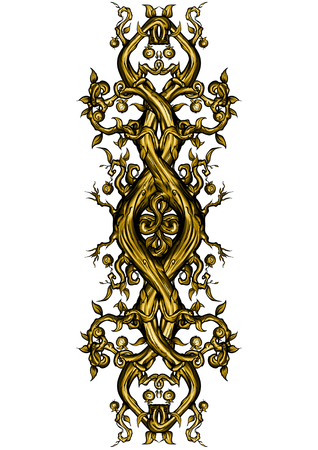 fabled: Illustration bizarre rough tree trunks and branches. Decorative symbol in a golden colour Stock Photo