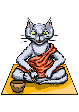 Illustration a cat dressed in an orange robe. He sits in the half lotus pose