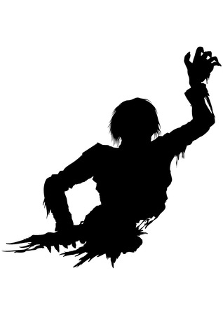 Illustration half part of the rotten zombies body. He stretches his hand forward