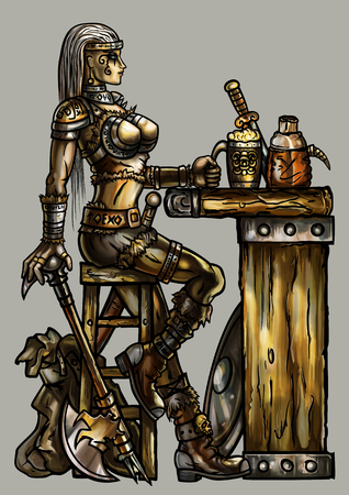 Fantasy illustration warrior woman in light armor with an axe and road bag sitting at the medieval bar. She holds a cup of beer Stock Photo