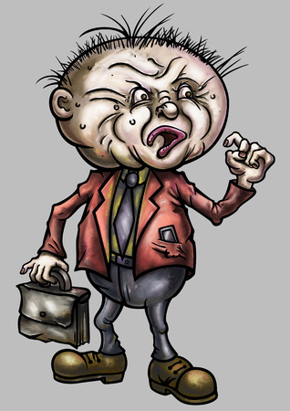 disadvantaged: Illustration aggrieved teacher, businessman or office worker with briefcase in hypertrophied, grotesque cartoon style