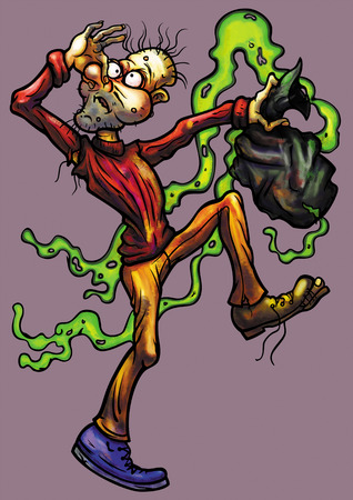 untidy: Illustration untidy man with a malodorous trash bag in hypertrophied, grotesque cartoon style Stock Photo