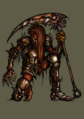 Illustration undead monster in fantasy armor with scythe, creature of the darkness army