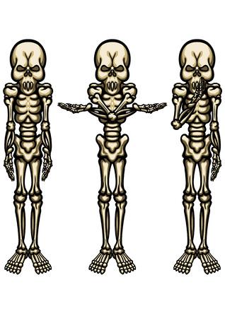Ilustração engraçada do esqueleto não-realista em diferentes poses