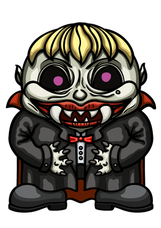 Illustration funny eerie vampyre boy with fangs