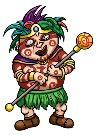 Illustration cartoon shaman with painted face and body