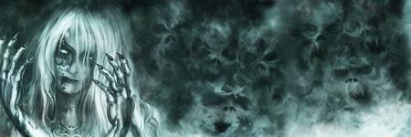 Ilustração misteriosa mulher com o rosto pintado e as mãos ensanguentadas. Névoa como o fantasma dos crânios no fundo Banco de Imagens