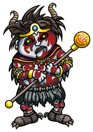 necromancy: Illustration cartoon horned black magic shaman with painted face and body