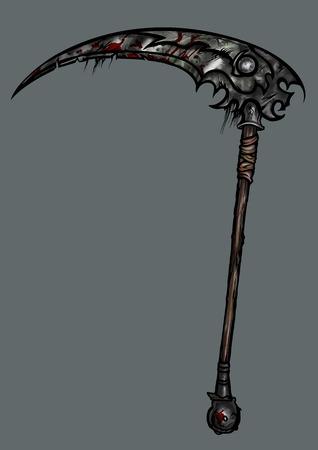 foice Ilustração exótica arma em design extremal com manchas de sangue