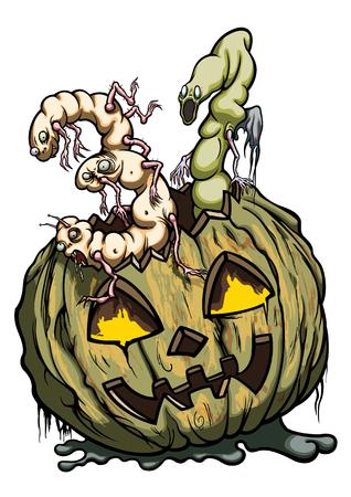 Ilustração da abóbora de Halloween com figuras de dois monstro como número '31' Banco de Imagens