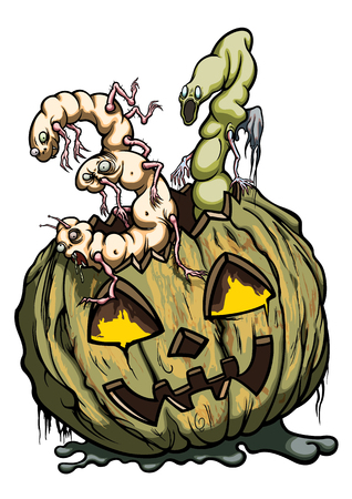 Illustration halloween pumpkin with two monsters figures like number 31
