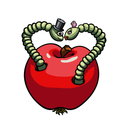 Illustration two worms sitting inside the apple. They form heart silhouette