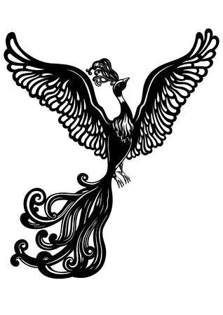 Illustration fantasy black & white flying bird