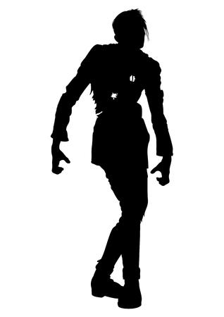 ilustração do homem zombie mutilado com buracos de bala