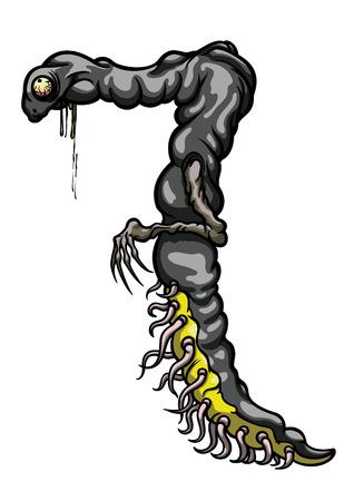 Ilustração dígitos criatura figura '7' com muitos tentáculos