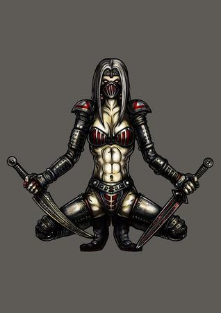 Ilustração da fantasia guerreiro assassino mulher com punhais