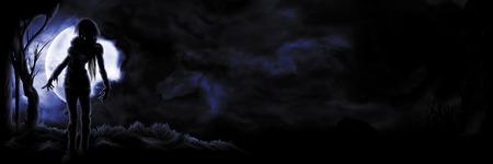 Illustratie sinister figuur op de nachtelijke hemel achtergrond met de maan en kopie ruimte Stockfoto