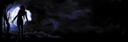 Illustration sinister figure on the night sky background with the moon and copy space